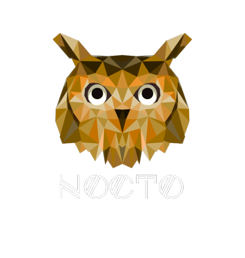 Nocto landing page background owl and nocto text